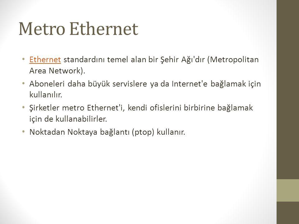 Metro Ethernet Ethernet standardını temel alan bir Şehir Ağı dır (Metropolitan Area Network).