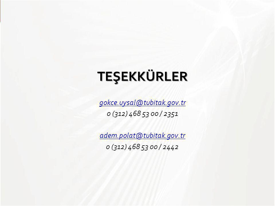 TEŞEKKÜRLER gokce.uysal@tubitak.gov.tr 0 (312) 468 53 00 / 2351