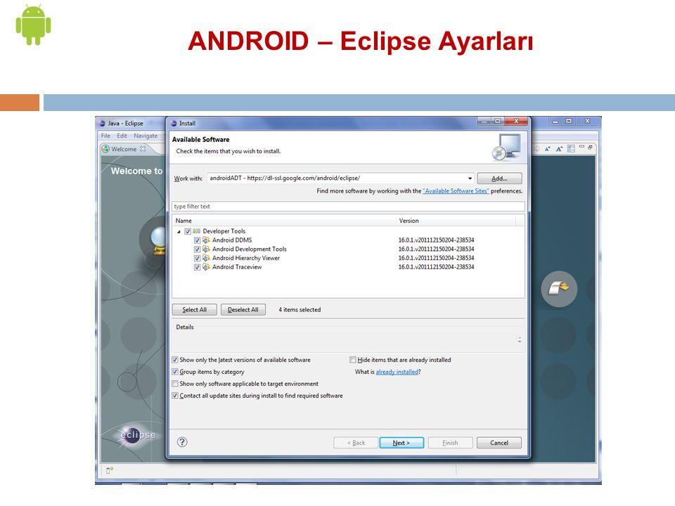 ANDROID – Eclipse Ayarları