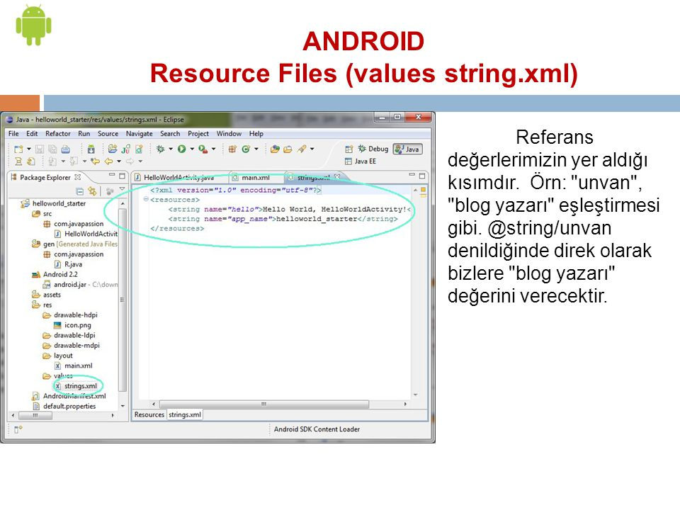 Resource Files (values string.xml)
