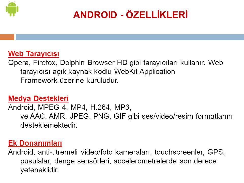 ANDROID - ÖZELLİKLERİ Web Tarayıcısı