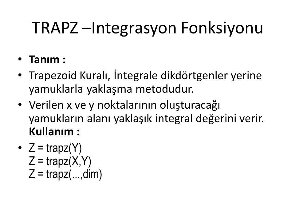 TRAPZ –Integrasyon Fonksiyonu