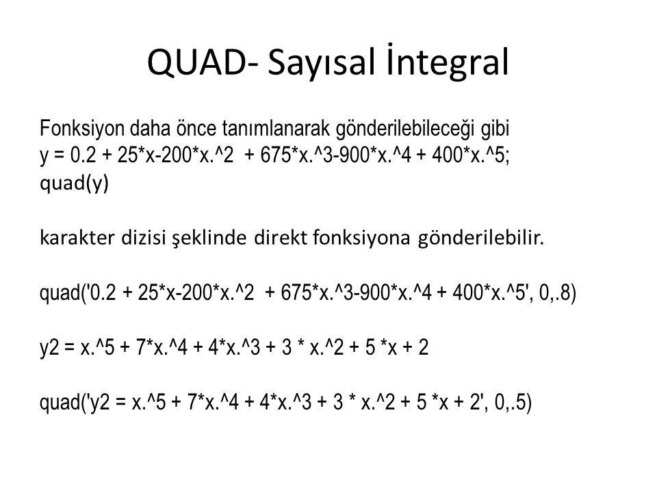 QUAD- Sayısal İntegral
