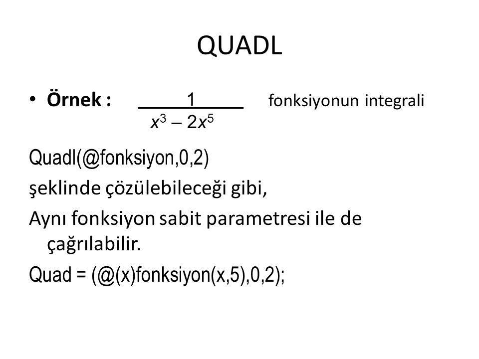 QUADL Örnek : fonksiyonun integrali Quadl(@fonksiyon,0,2)