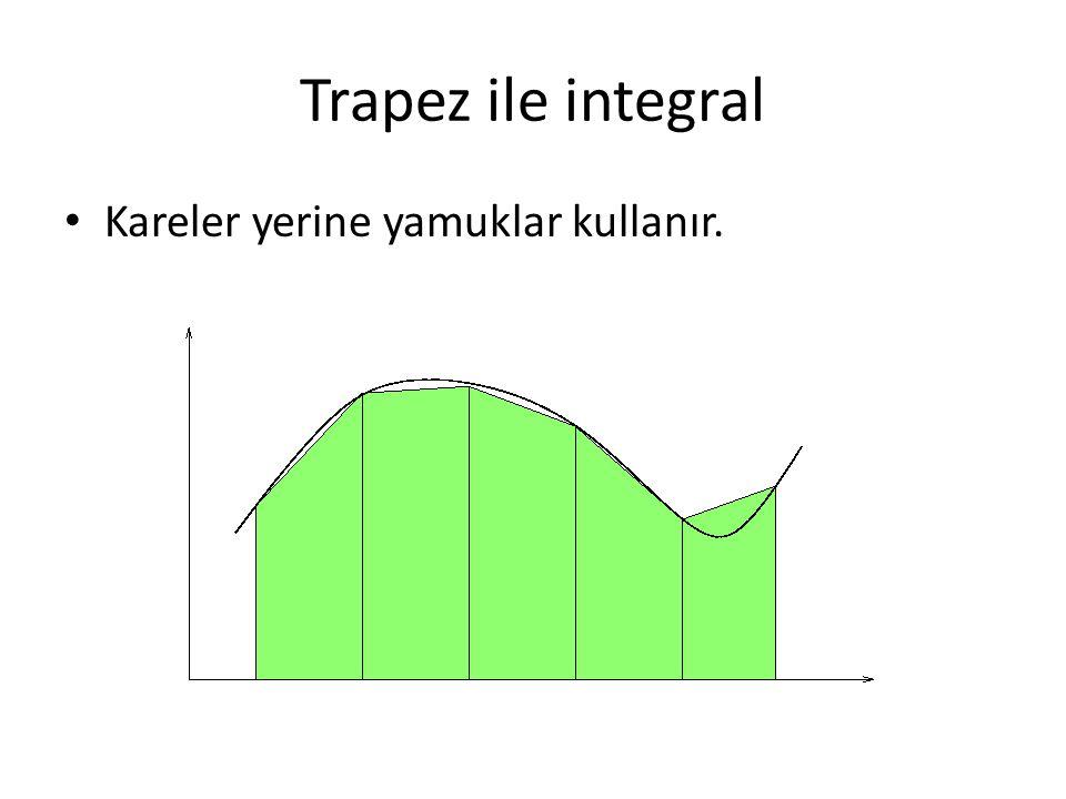 Trapez ile integral Kareler yerine yamuklar kullanır.