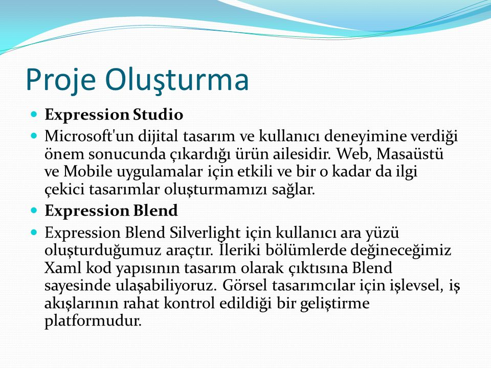 Proje Oluşturma Expression Studio