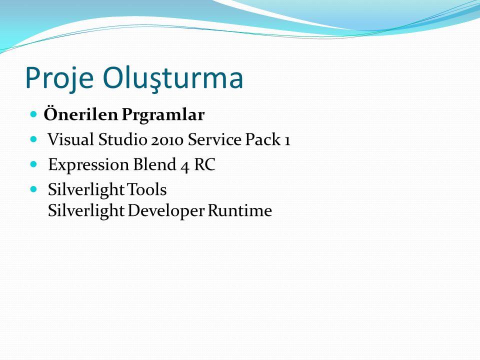 Proje Oluşturma Önerilen Prgramlar Visual Studio 2010 Service Pack 1