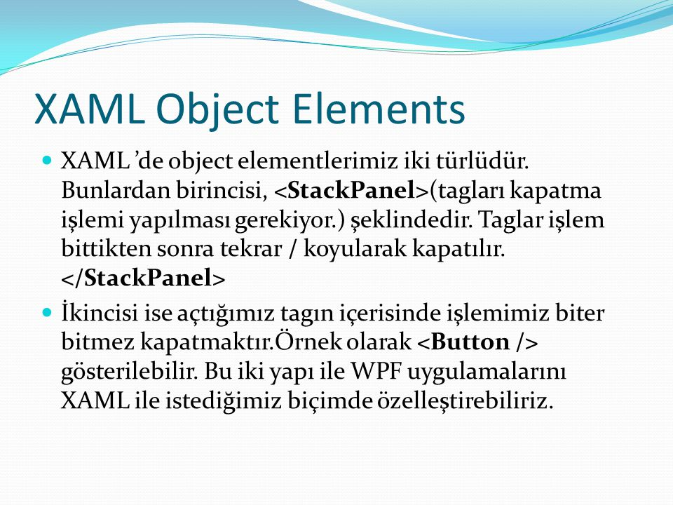 XAML Object Elements