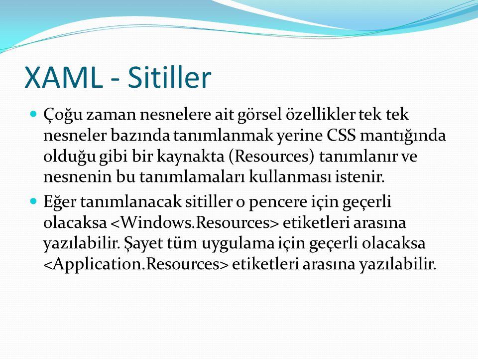XAML - Sitiller