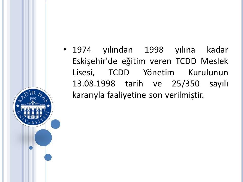 1974 yılından 1998 yılına kadar Eskişehir de eğitim veren TCDD Meslek Lisesi, TCDD Yönetim Kurulunun 13.08.1998 tarih ve 25/350 sayılı kararıyla faaliyetine son verilmiştir.