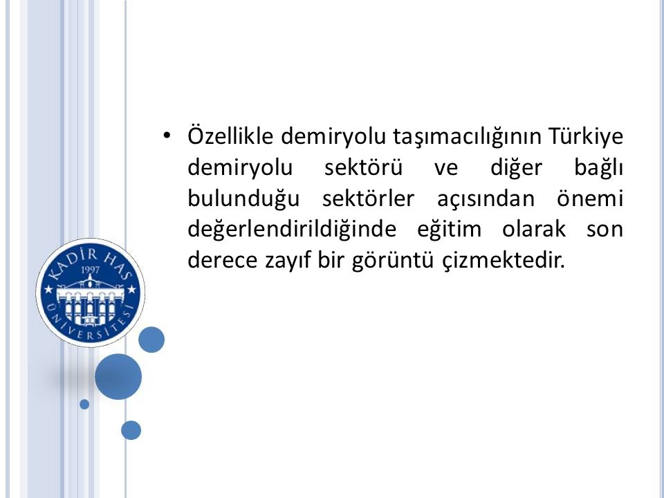 Özellikle demiryolu taşımacılığının Türkiye demiryolu sektörü ve diğer bağlı bulunduğu sektörler açısından önemi değerlendirildiğinde eğitim olarak son derece zayıf bir görüntü çizmektedir.