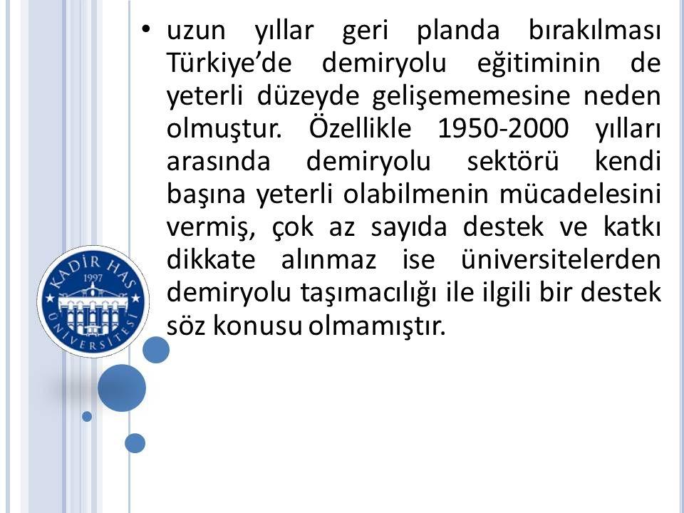 uzun yıllar geri planda bırakılması Türkiye'de demiryolu eğitiminin de yeterli düzeyde gelişememesine neden olmuştur.