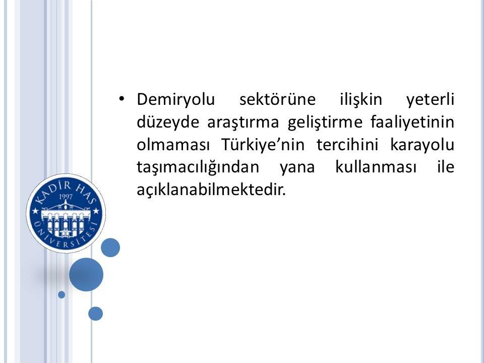 Demiryolu sektörüne ilişkin yeterli düzeyde araştırma geliştirme faaliyetinin olmaması Türkiye'nin tercihini karayolu taşımacılığından yana kullanması ile açıklanabilmektedir.
