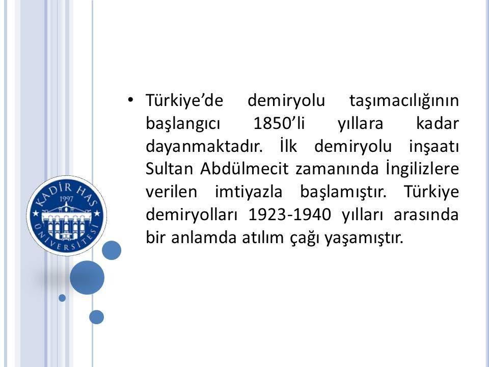 Türkiye'de demiryolu taşımacılığının başlangıcı 1850'li yıllara kadar dayanmaktadır.