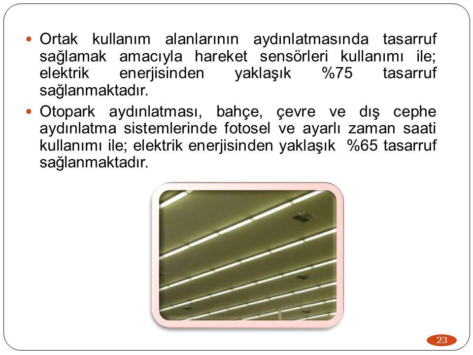 Ortak kullanım alanlarının aydınlatmasında tasarruf sağlamak amacıyla hareket sensörleri kullanımı ile; elektrik enerjisinden yaklaşık %75 tasarruf sağlanmaktadır.