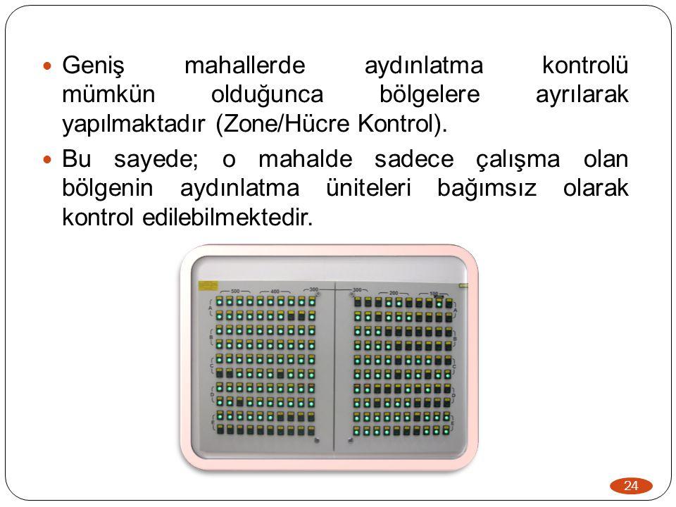 Geniş mahallerde aydınlatma kontrolü mümkün olduğunca bölgelere ayrılarak yapılmaktadır (Zone/Hücre Kontrol).