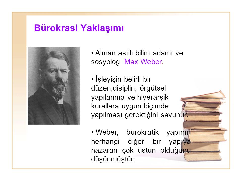 Bürokrasi Yaklaşımı Alman asıllı bilim adamı ve sosyolog Max Weber.