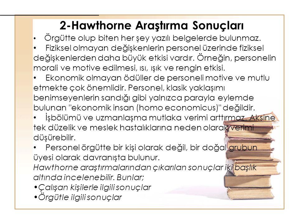 2-Hawthorne Araştırma Sonuçları