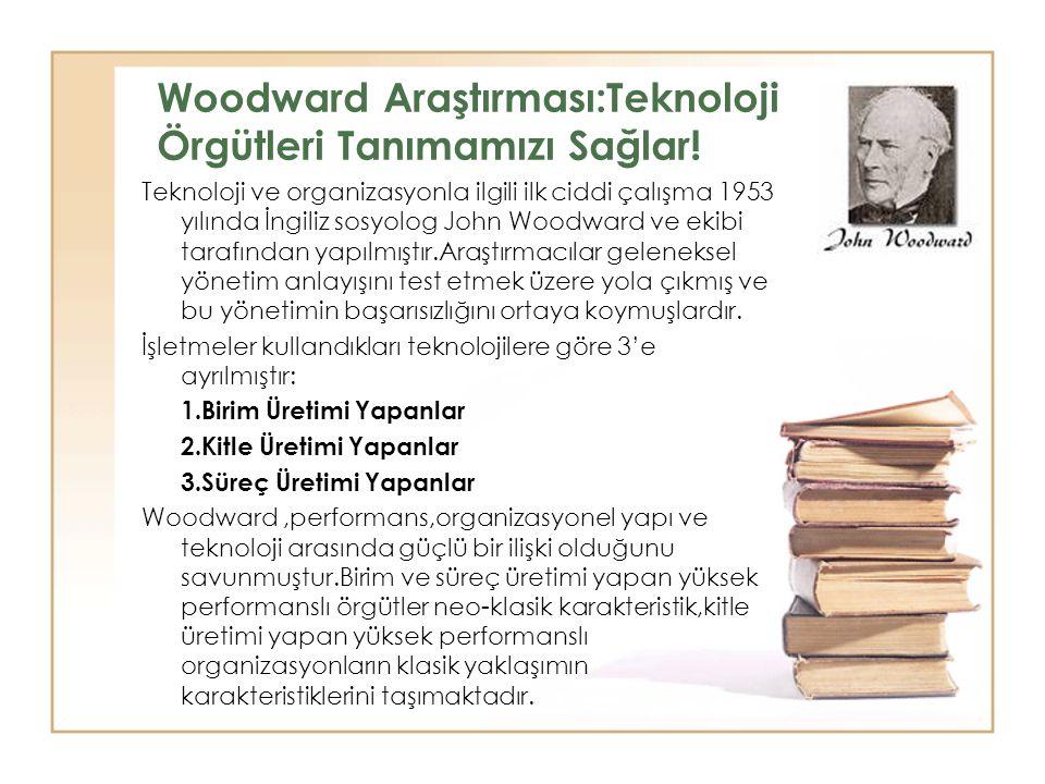 Woodward Araştırması:Teknoloji Örgütleri Tanımamızı Sağlar!