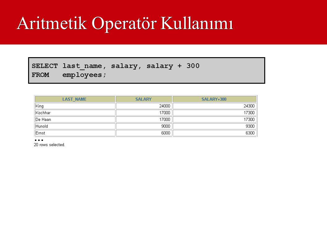 Aritmetik Operatör Kullanımı