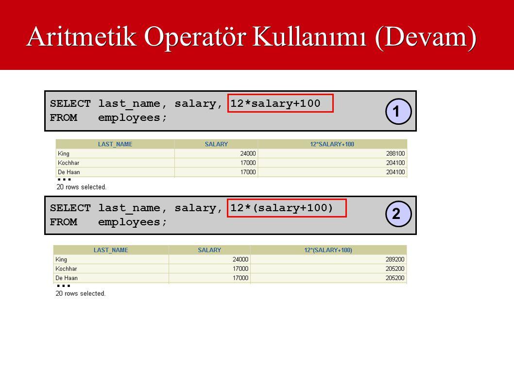 Aritmetik Operatör Kullanımı (Devam)