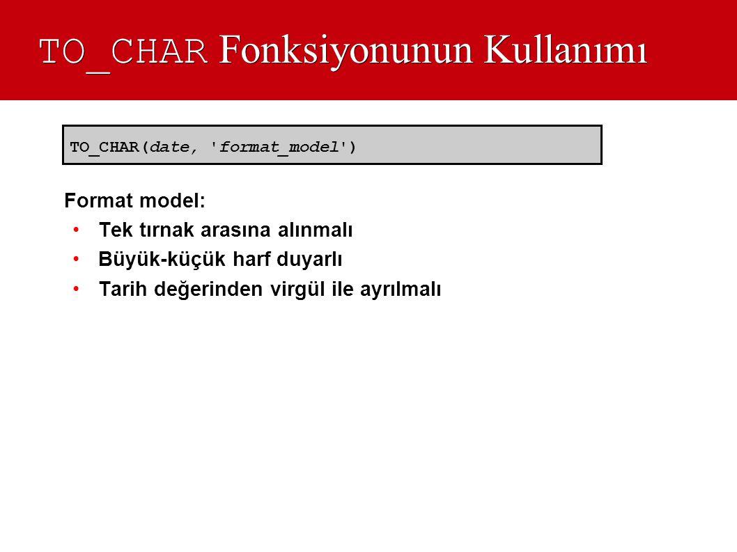 TO_CHAR Fonksiyonunun Kullanımı