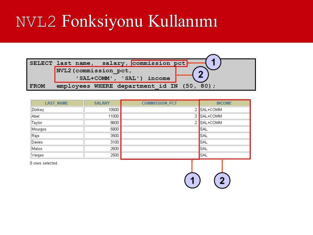 NVL2 Fonksiyonu Kullanımı