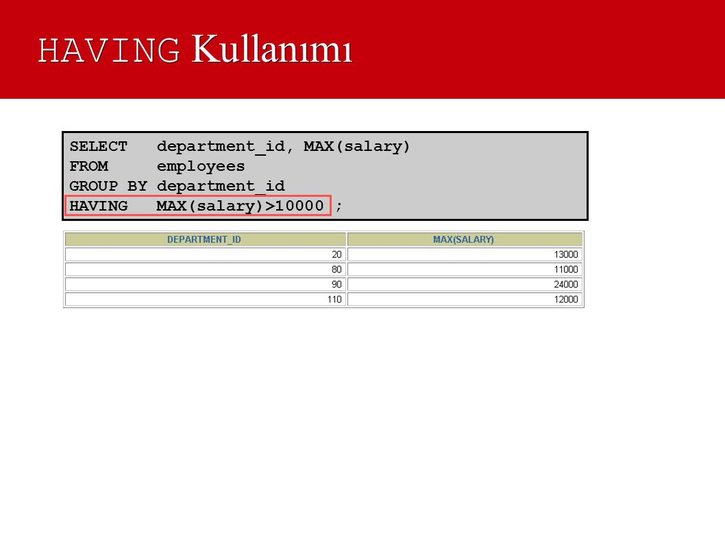HAVING Kullanımı SELECT department_id, MAX(salary) FROM employees