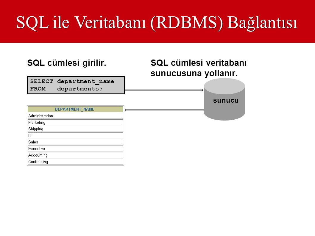 SQL ile Veritabanı (RDBMS) Bağlantısı
