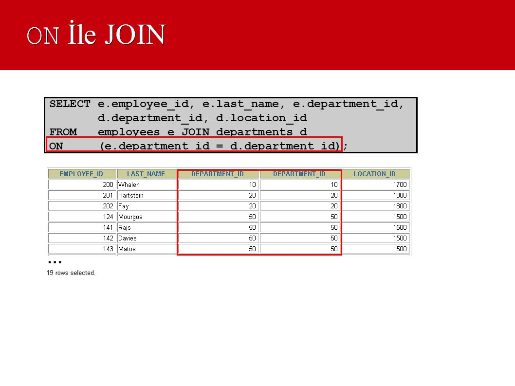 ON İle JOIN … SELECT e.employee_id, e.last_name, e.department_id,