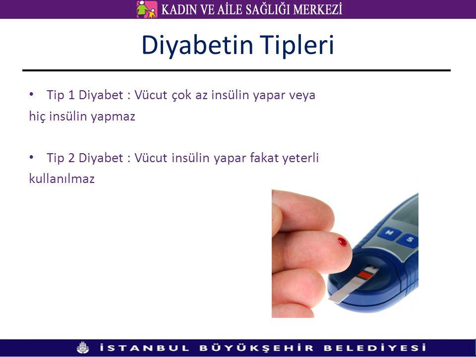 Diyabetin Tipleri Tip 1 Diyabet : Vücut çok az insülin yapar veya