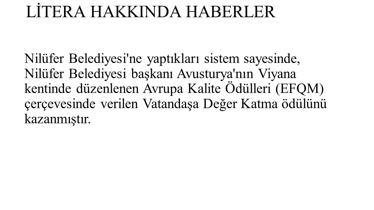 LİTERA HAKKINDA HABERLER