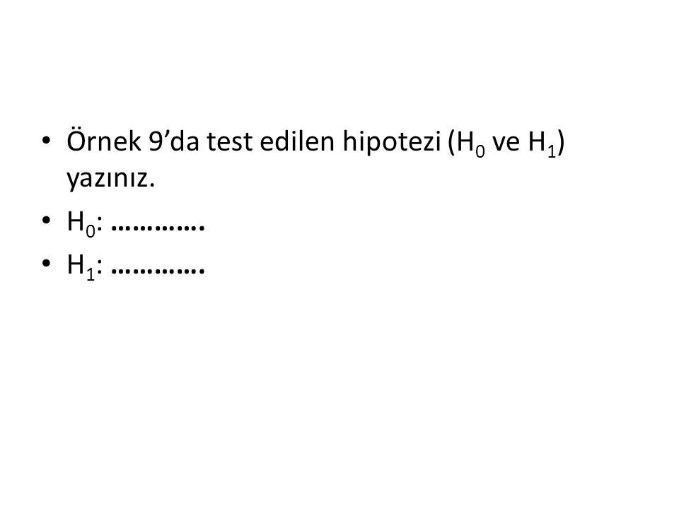 Örnek 9'da test edilen hipotezi (H0 ve H1) yazınız.