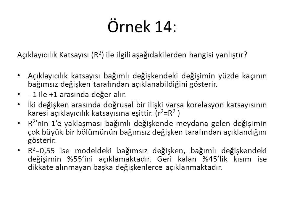 Örnek 14: Açıklayıcılık Katsayısı (R2) ile ilgili aşağıdakilerden hangisi yanlıştır