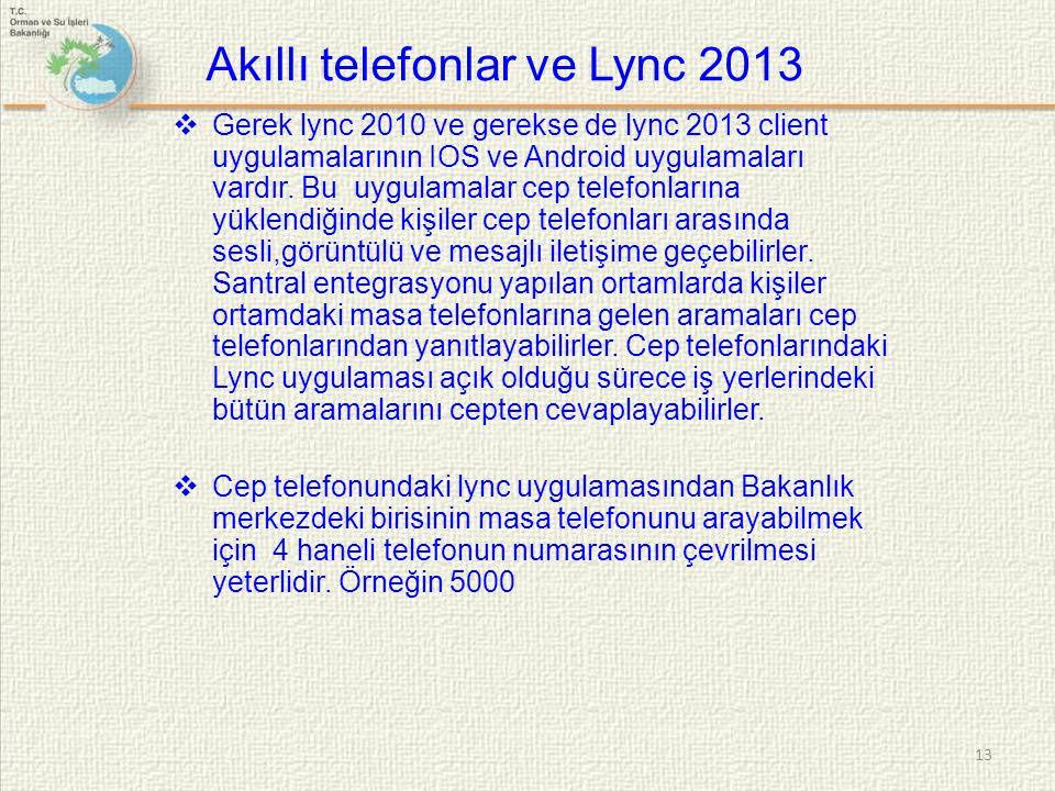 Akıllı telefonlar ve Lync 2013