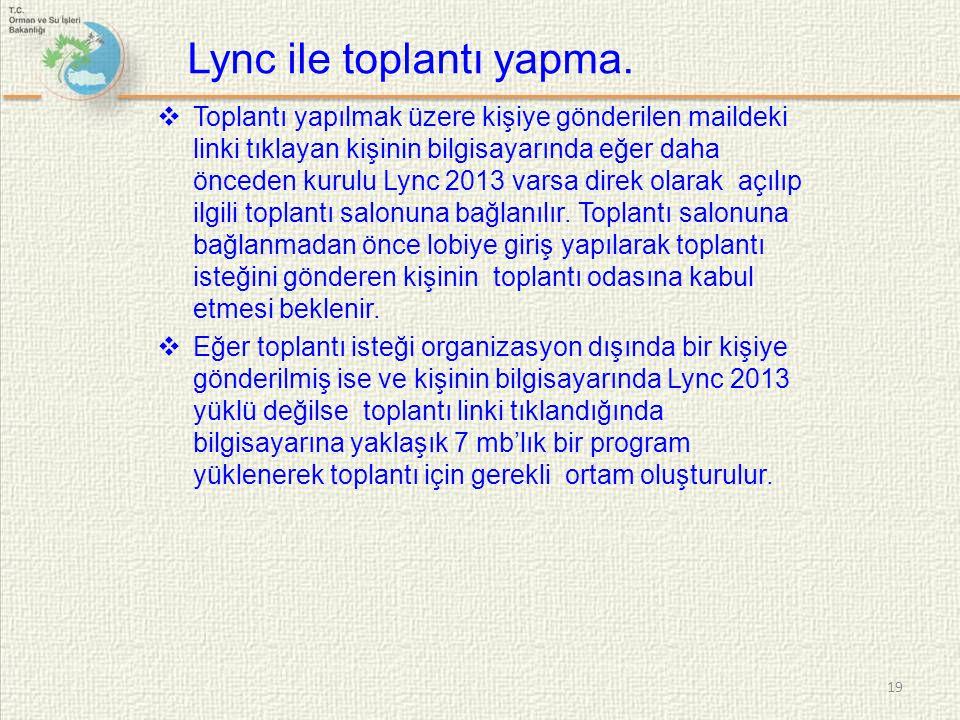 Lync ile toplantı yapma.