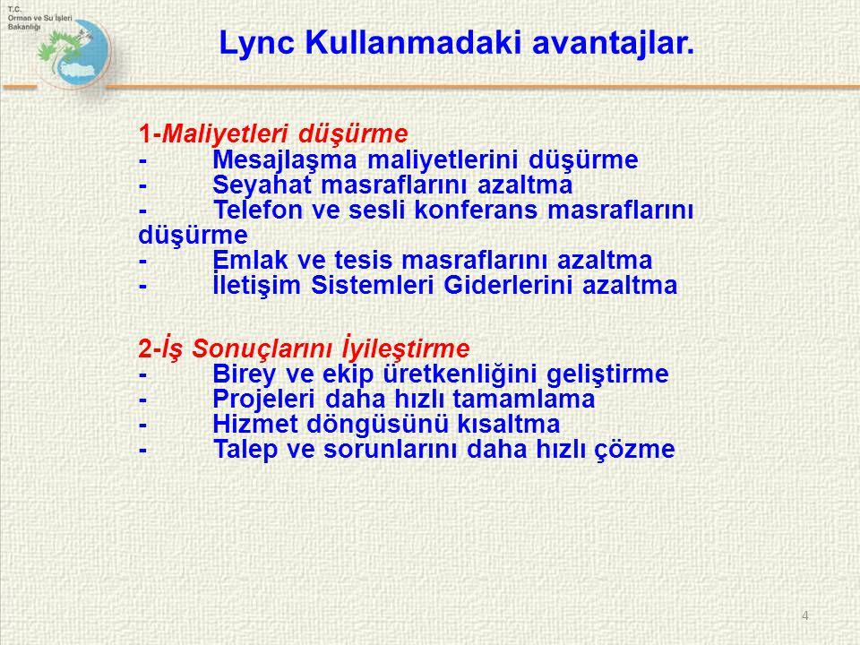Lync Kullanmadaki avantajlar.