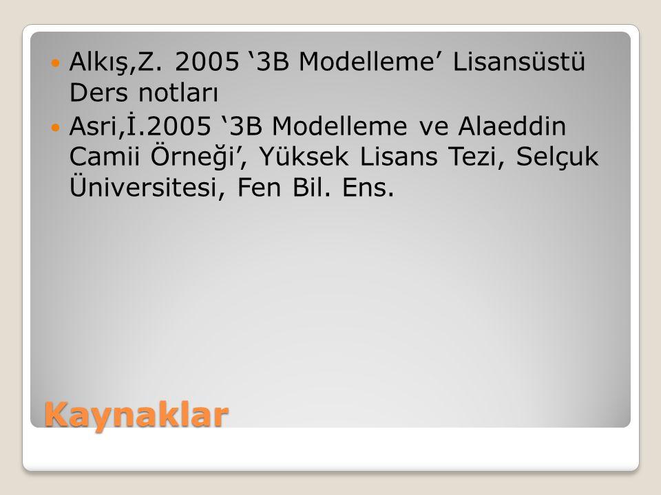 Kaynaklar Alkış,Z. 2005 '3B Modelleme' Lisansüstü Ders notları