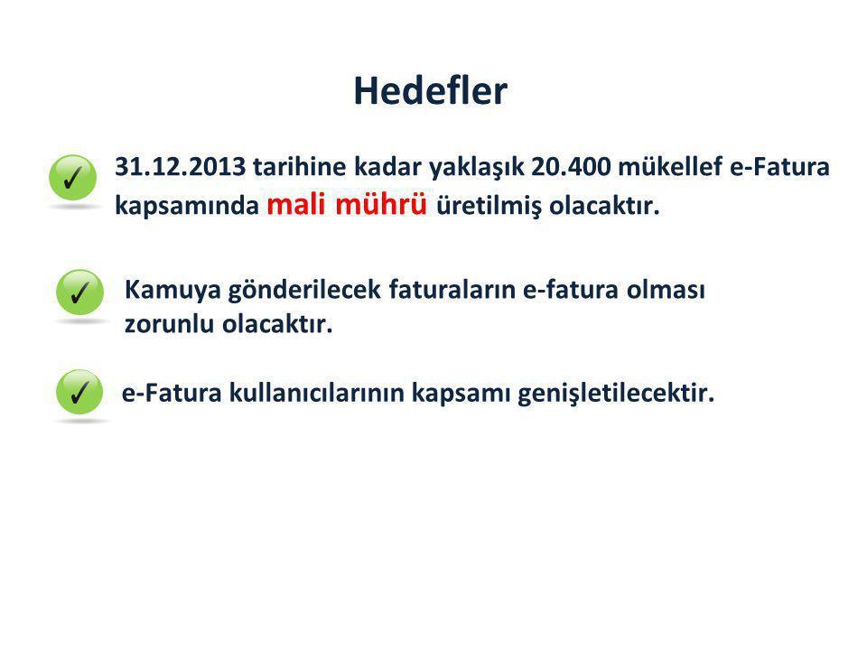 Hedefler 31.12.2013 tarihine kadar yaklaşık 20.400 mükellef e-Fatura kapsamında mali mührü üretilmiş olacaktır.
