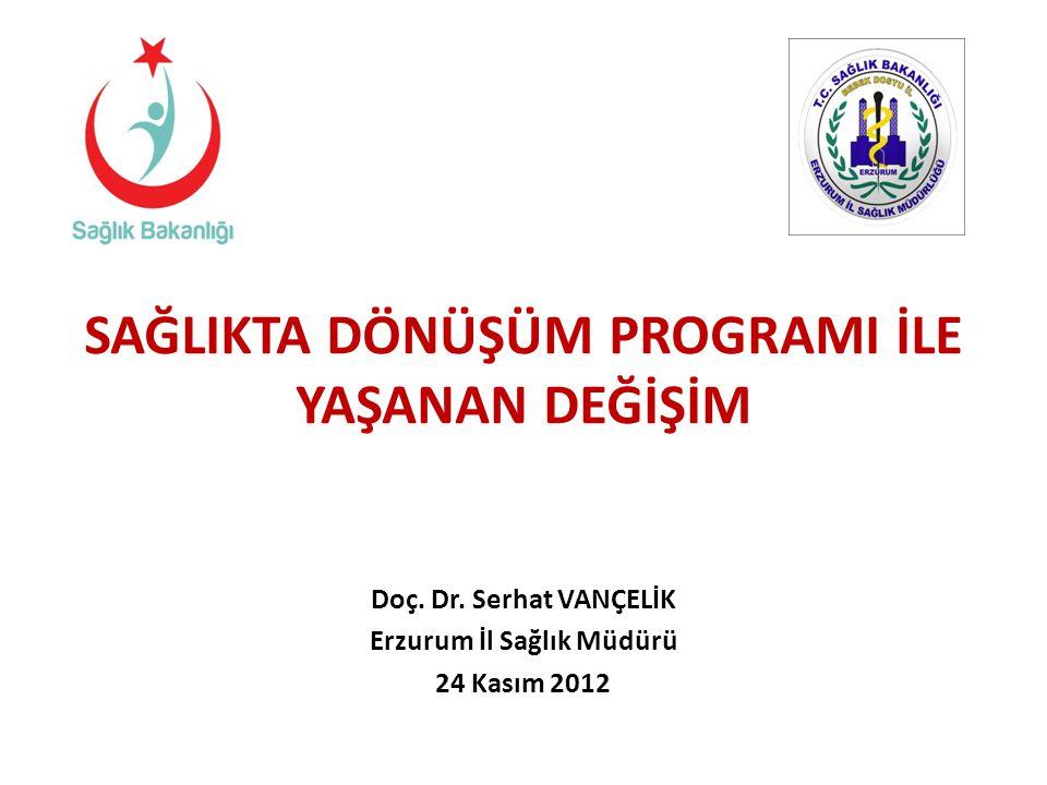 SAĞLIKTA DÖNÜŞÜM PROGRAMI İLE YAŞANAN DEĞİŞİM Erzurum İl Sağlık Müdürü