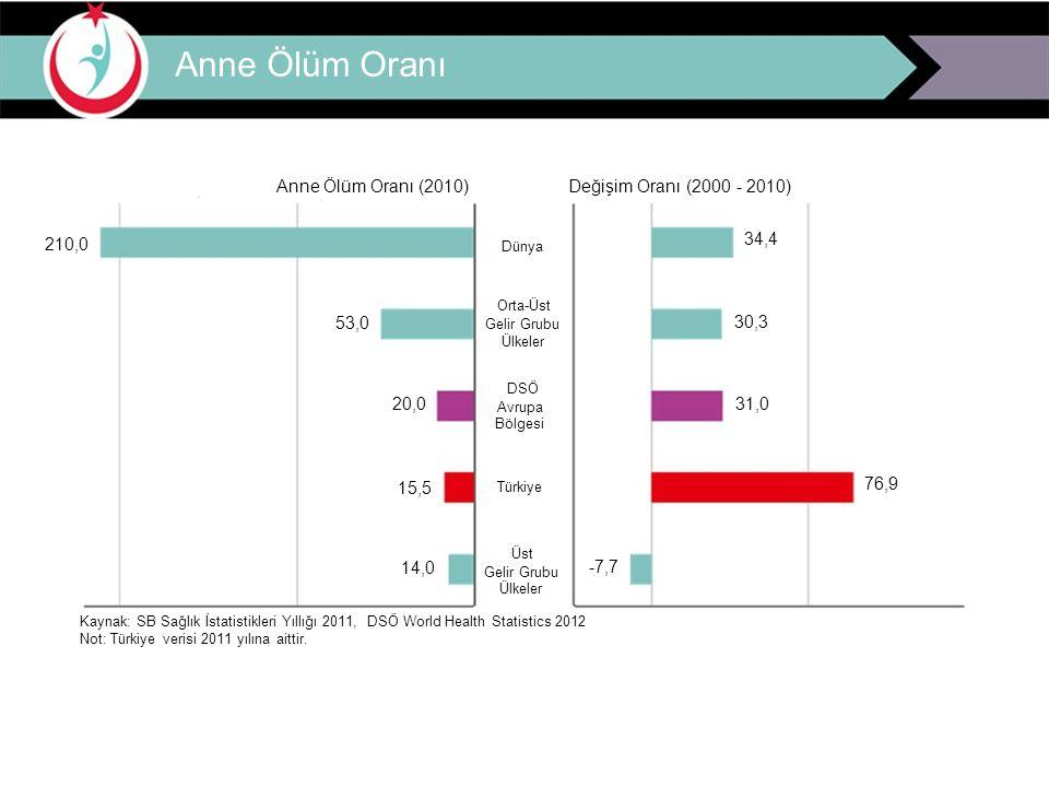 Anne Ölüm Oranı Anne Ölüm Oranı (2010) Değişim Oranı (2000 - 2010)
