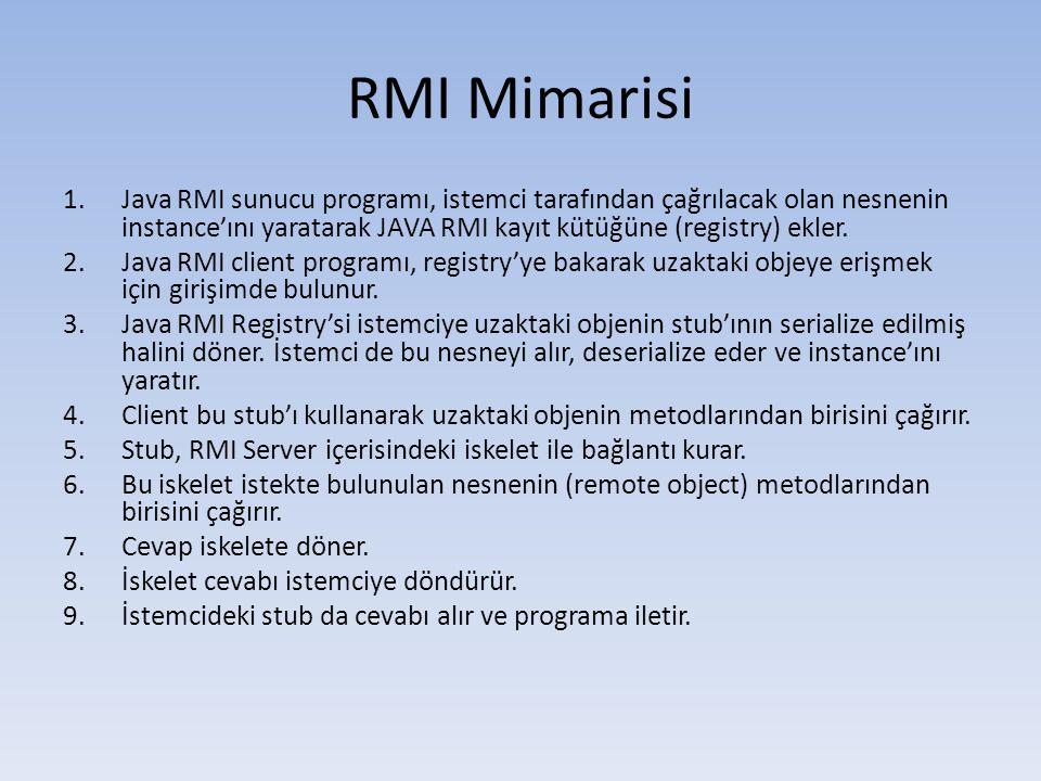 RMI Mimarisi Java RMI sunucu programı, istemci tarafından çağrılacak olan nesnenin instance'ını yaratarak JAVA RMI kayıt kütüğüne (registry) ekler.