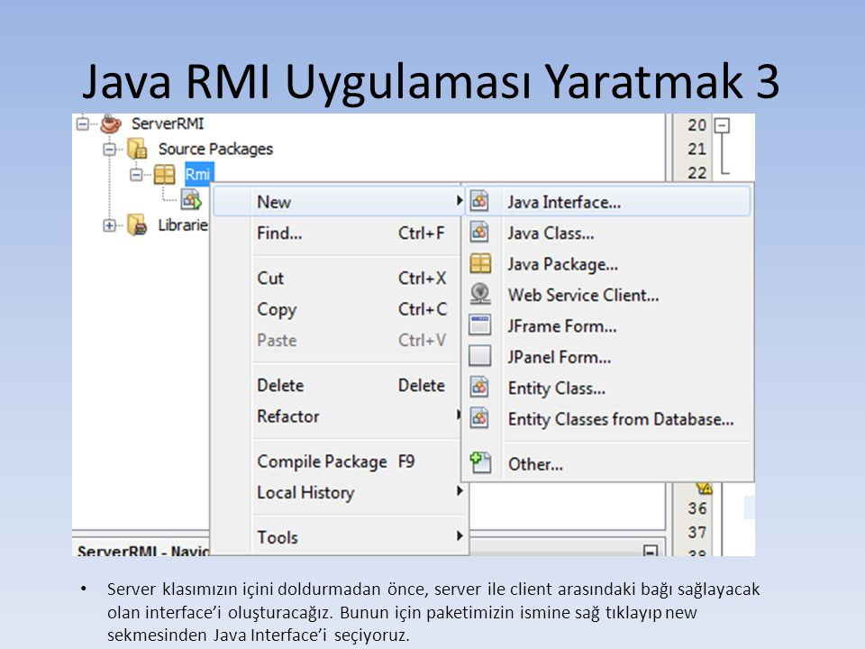 Java RMI Uygulaması Yaratmak 3