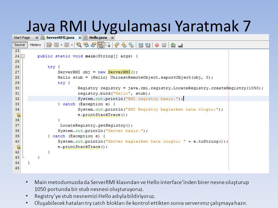 Java RMI Uygulaması Yaratmak 7
