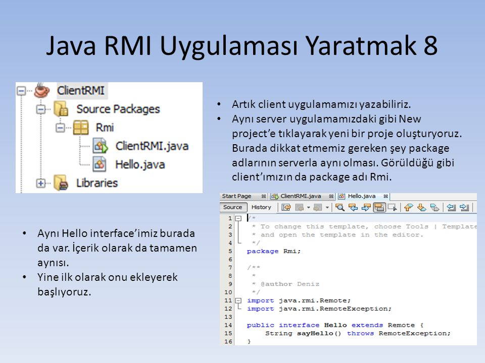 Java RMI Uygulaması Yaratmak 8