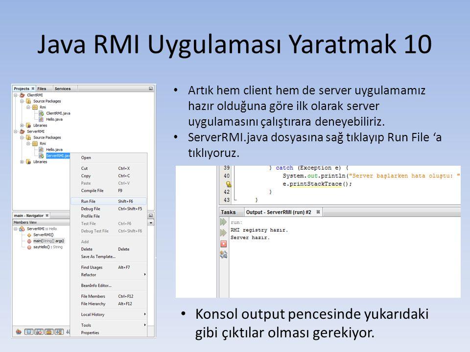 Java RMI Uygulaması Yaratmak 10