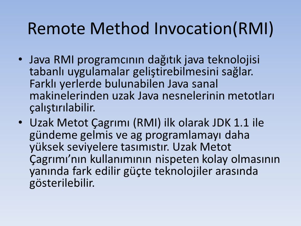 Remote Method Invocation(RMI)