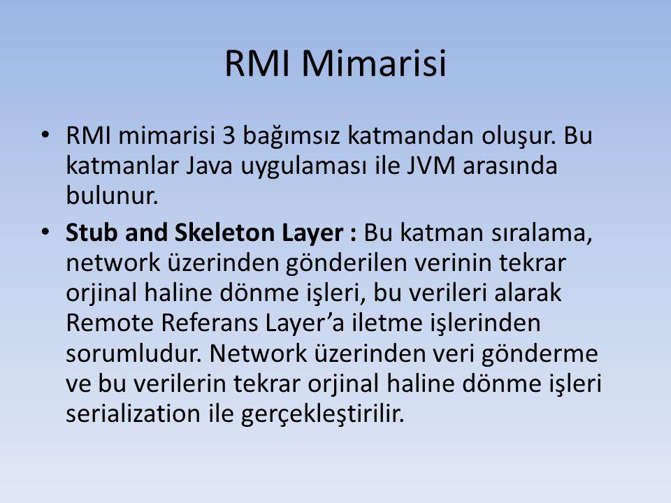 RMI Mimarisi RMI mimarisi 3 bağımsız katmandan oluşur. Bu katmanlar Java uygulaması ile JVM arasında bulunur.