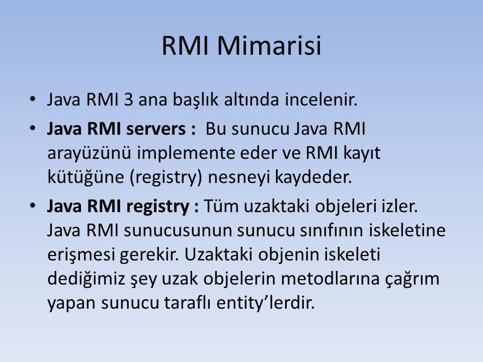RMI Mimarisi Java RMI 3 ana başlık altında incelenir.