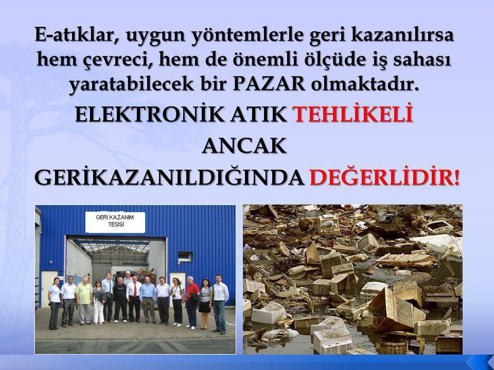 ELEKTRONİK ATIK TEHLİKELİ GERİKAZANILDIĞINDA DEĞERLİDİR!